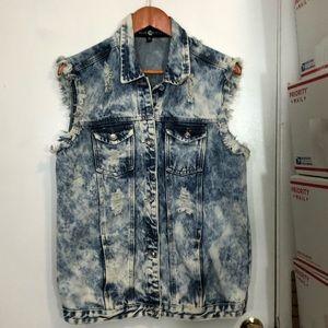 Blue Identity Acid Wash Jean Vest